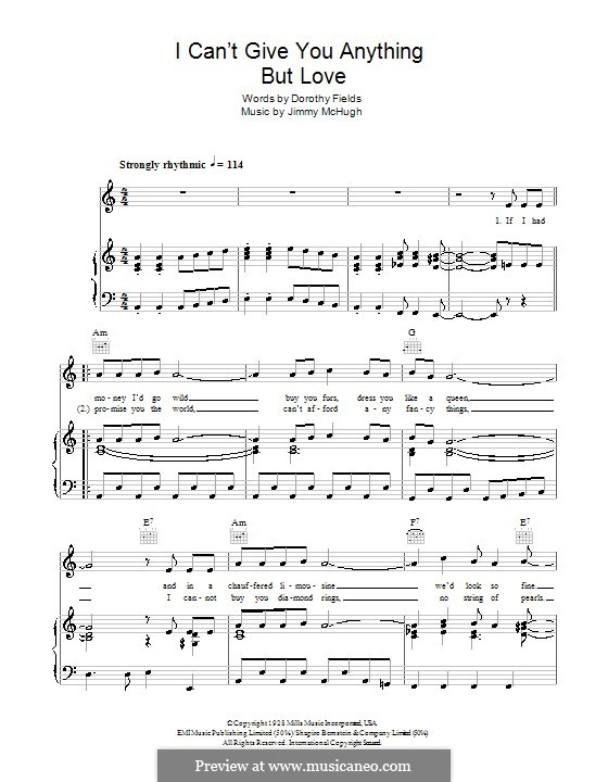 I Can't Give You Anything But Love: For voice and piano or guitar (The Stylistics) by Jimmy McHugh