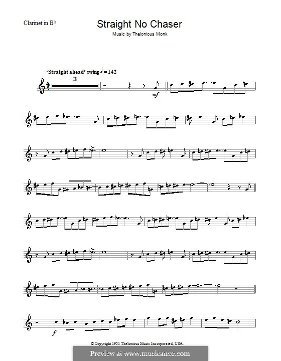 Straight No Chaser: para clarinete by Thelonious Monk