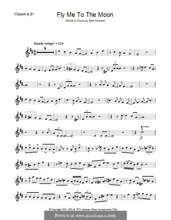 Fly Me to the Moon (In Other Words): For clarinet (Julie London) by Bart Howard