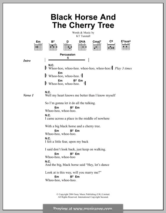 Black Horse and the Cherry Tree: Letras e Acordes by KT Tunstall