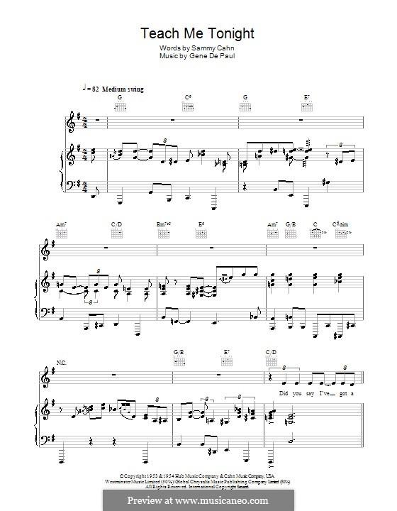 Teach Me Tonight (Frank Sinatra): Para vocais e piano (ou Guitarra) by Gene de Paul