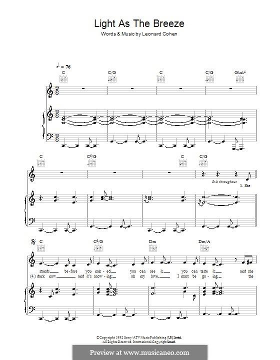 Light as the Breeze: Para vocais e piano (ou Guitarra) by Leonard Cohen