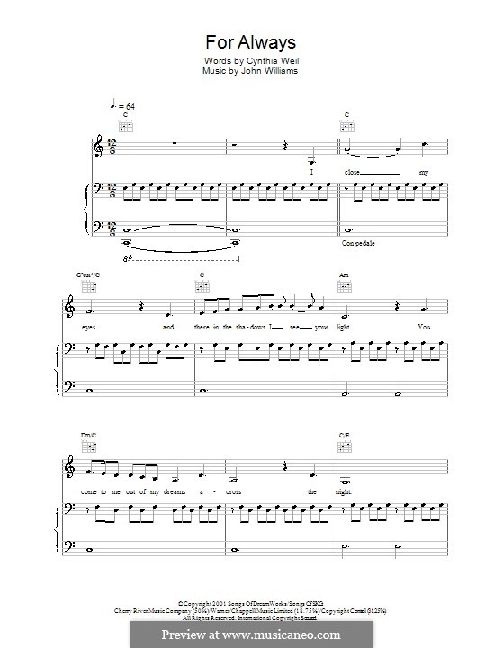 For Always (from AI: Artificial Intelligence): For voice and piano or guitar (Lara Fabian) by John Williams