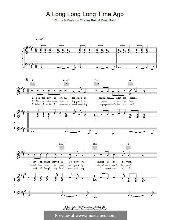 A Long Long Long Time Ago (The Proclaimers): Para vocais e piano (ou Guitarra) by Charles Reid, Craig Reid