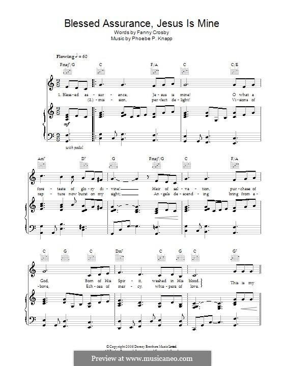 Blessed Assurance: Para vocais e piano (ou Guitarra) by Phoebe Palmer Knapp