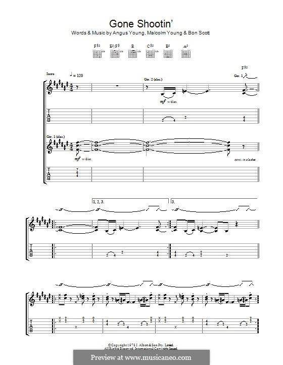 Gone Shootin' (AC/DC): Para guitarra com guia by Angus Young, Bon Scott, Malcolm Young
