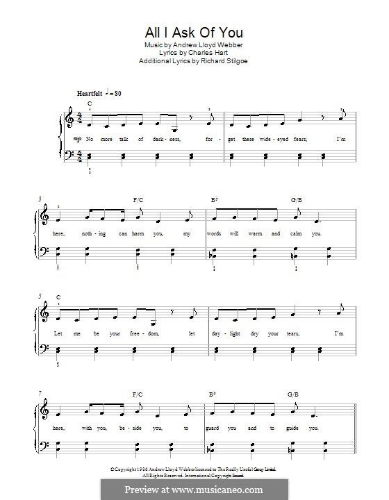 All I Ask of You: facil Para piano com acordes by Andrew Lloyd Webber