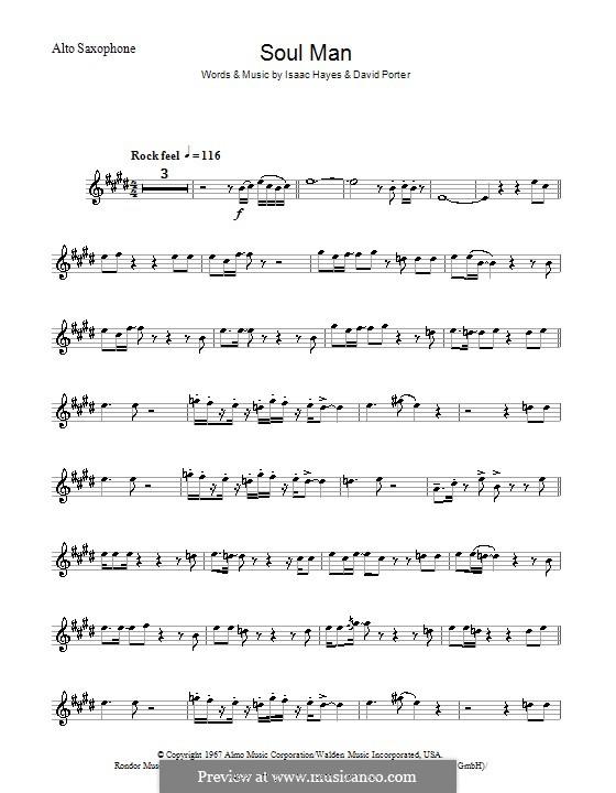 Soul Man (Sam & Dave): para saxofone by David Porter, Isaac Hayes