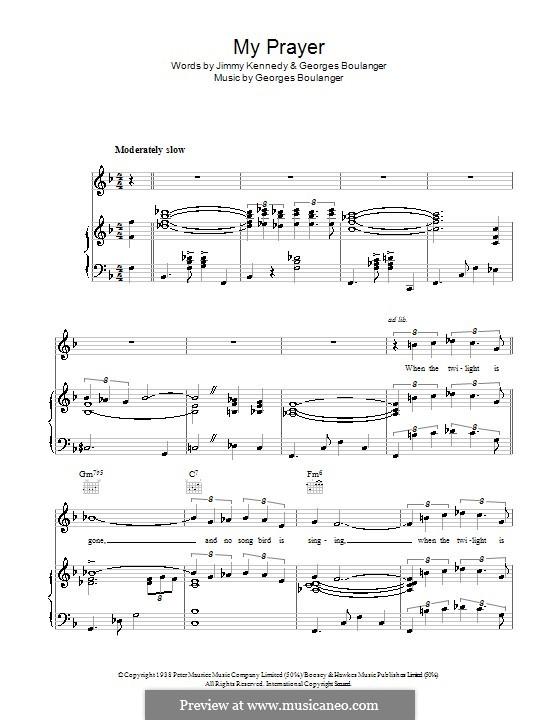 My Prayer (The Platters): Para vocais e piano (ou Guitarra) by Georges Boulanger