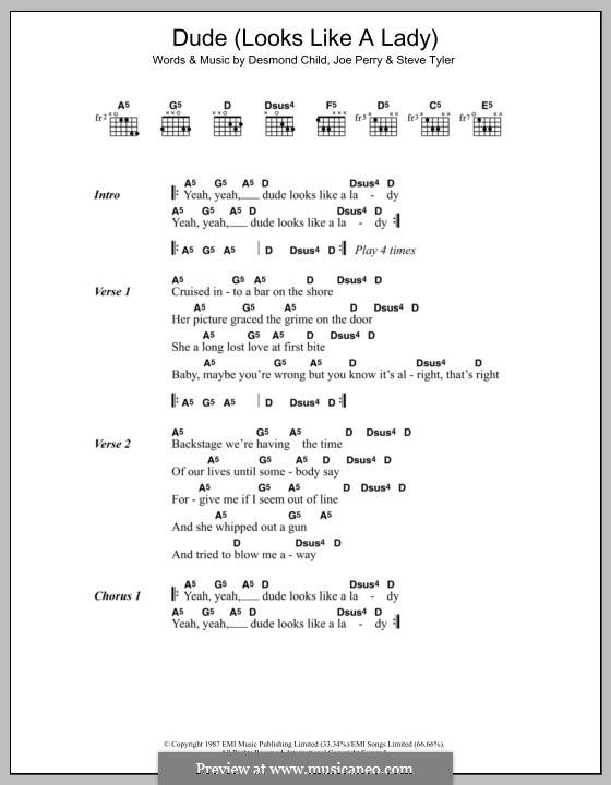 Dude (Looks Like a Lady): Lyrics and chords (Aerosmith) by Desmond Child, Joe Perry, Steven Tyler