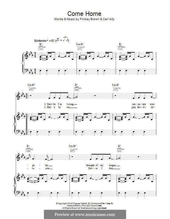 Come Home (Findlay Brown): Para vocais e piano (ou Guitarra) by Carl Alty