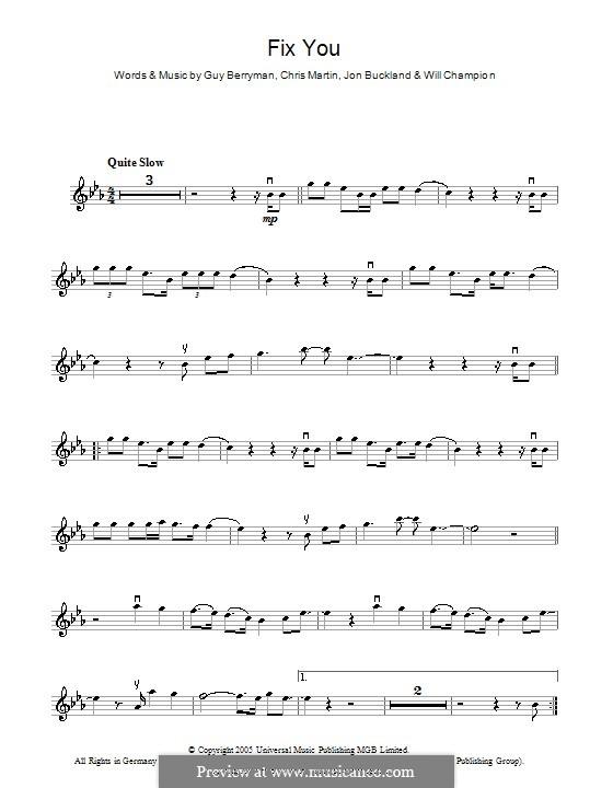 Fix You (Coldplay): para violino by Chris Martin, Guy Berryman, Jonny Buckland, Will Champion