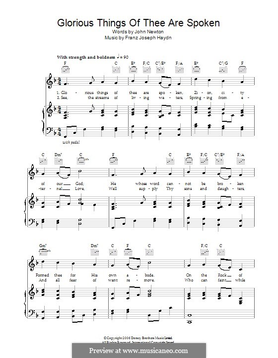 Glorious Things of Thee are Spoken: Para vocais e piano (ou Guitarra) by Joseph Haydn