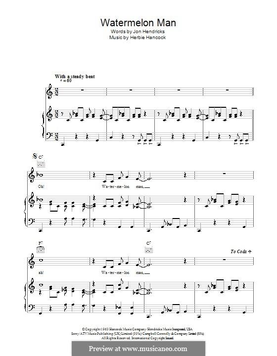 Watermelon Man: Para vocais e piano (ou Guitarra) by Herbie Hancock
