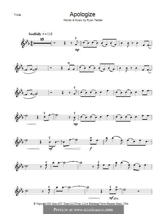 Apologize (OneRepublic): para violino by Ryan B Tedder