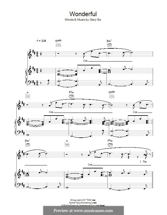 Wonderful: Para vocais e piano (ou Guitarra) by Gary Go