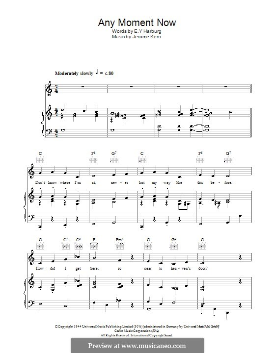 Any Moment Now: Para vocais e piano (ou Guitarra) by Jerome Kern