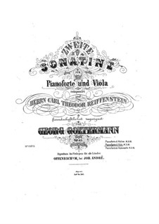 Sonatina for Cello (or Violin) and Piano No.2, Op.61: For viola and piano – score, solo part by Georg Goltermann