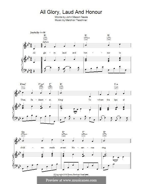 All Glory, Laud and Honor: Para vocais e piano (ou Guitarra) by Melchior Teschner