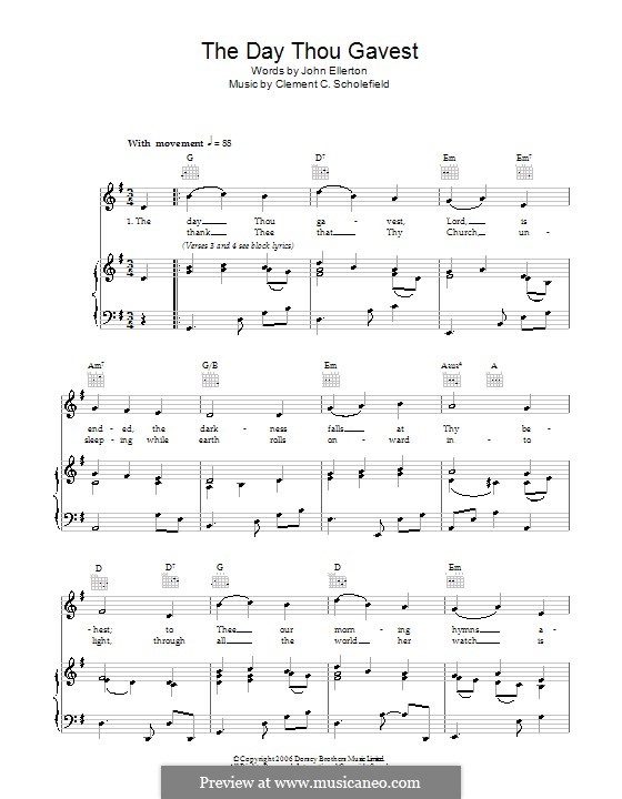 The Day Thou Gavest: Para vocais e piano (ou Guitarra) by Clement Cotterill Scholefield