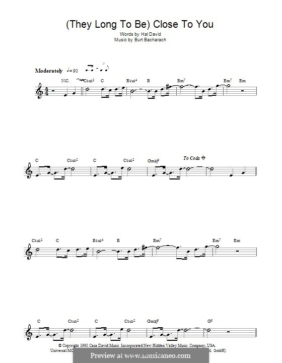 Close to You (They Long to be): For flute (Carpenters) by Burt Bacharach