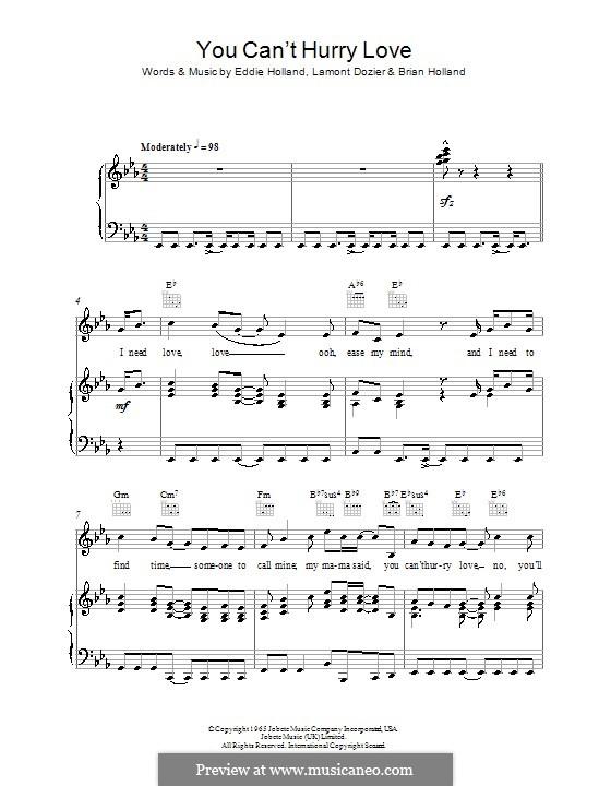 You Can't Hurry Love (The Supremes): Para vocais e piano (ou Guitarra) by Brian Holland, Edward Holland Jr., Lamont Dozier