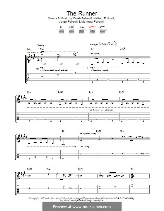 The Runner (Kings of Leon): Para guitarra com guia by Anthony Caleb Followill, Jared Followill, Matthew Followill, Nathan Followill