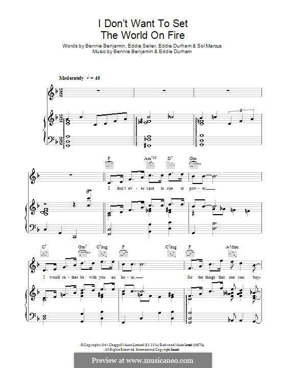 I Don't Want to Set the World on Fire (The Ink Spots): Para vocais e piano (ou Guitarra) by Bennie Benjamin, Eddie Durham