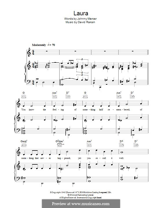 Laura (Frank Sinatra): Para vocais e piano (ou Guitarra) by David Raksin