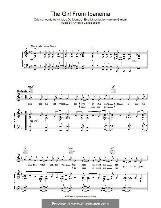 The Girl from Ipanema (Garota de Ipanema): Para vocais e piano (ou Guitarra) by Antonio Carlos Jobim