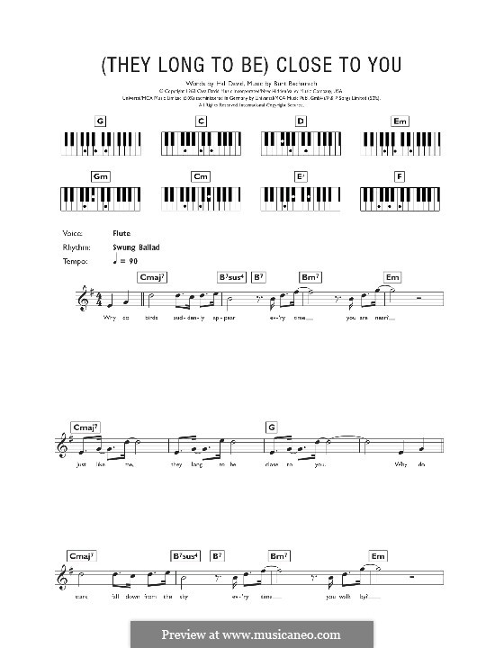 Close to You (They Long to be): For keyboard (Carpenters) by Burt Bacharach