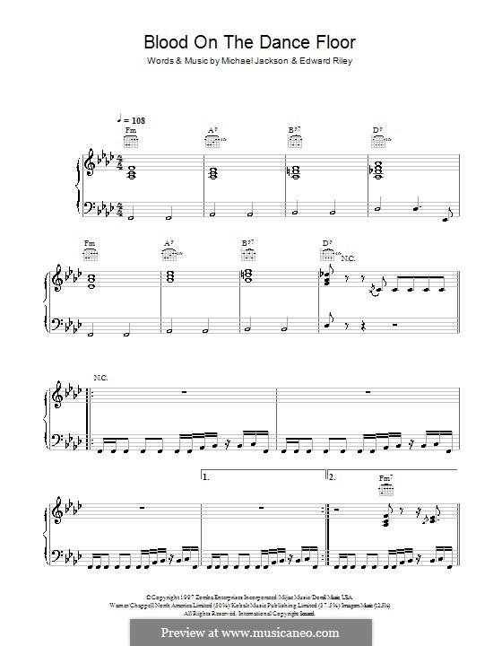 Blood on the Dance Floor: Para vocais e piano (ou Guitarra) by Teddy Riley, Michael Jackson