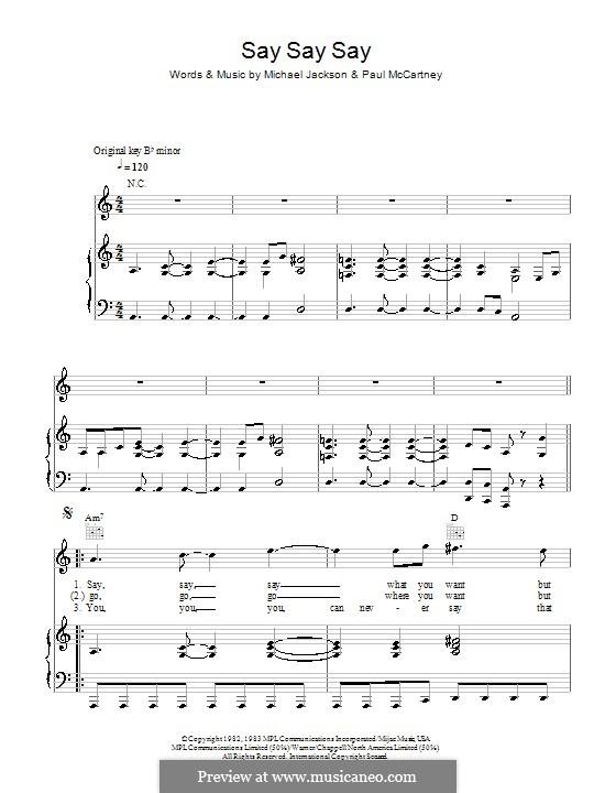 Say Say Say: Para vocais e piano (ou Guitarra) by Michael Jackson, Paul McCartney