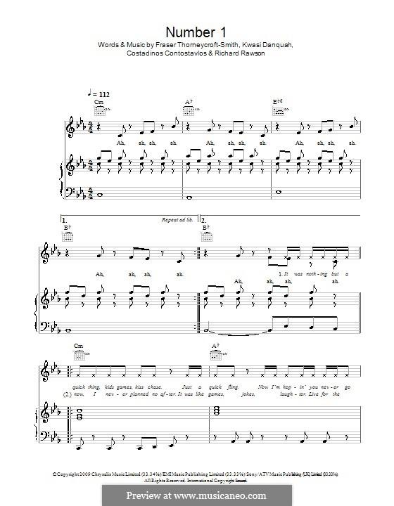 Number 1 (Tinchy Stryder feat. N-Dubz): Para vocais e piano (ou Guitarra) by Costadinos Contostavlos, Fraser T. Smith, Kwasi Danquah, Richard Rawson