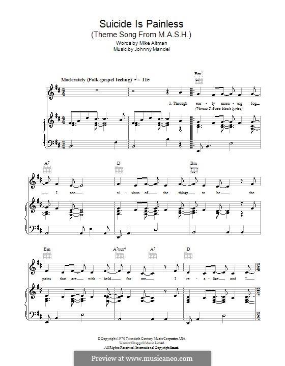 M.A.S.H. (Suicide is Painless): Para vocais e piano (ou Guitarra) by Johnny Mandel