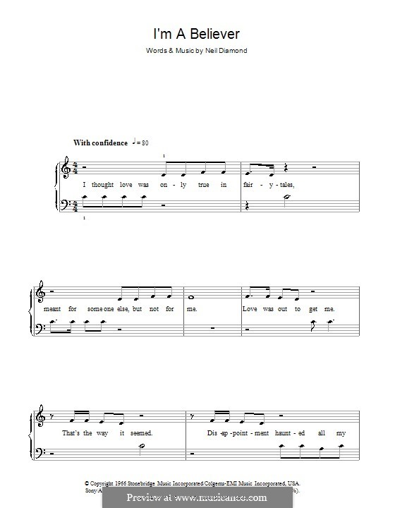 I'm a Believer: Facil para o piano by Neil Diamond