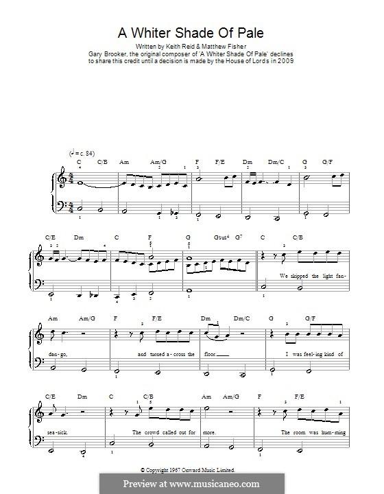 A Whiter Shade of Pale (Procol Harum): Facil para o piano by Gary Brooker