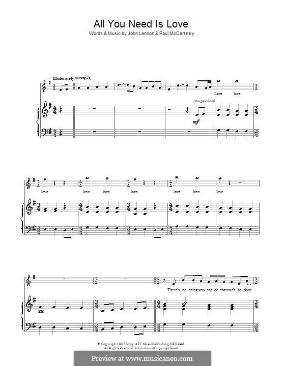 All You Need Is Love (The Beatles): Para vocais e piano by John Lennon, Paul McCartney