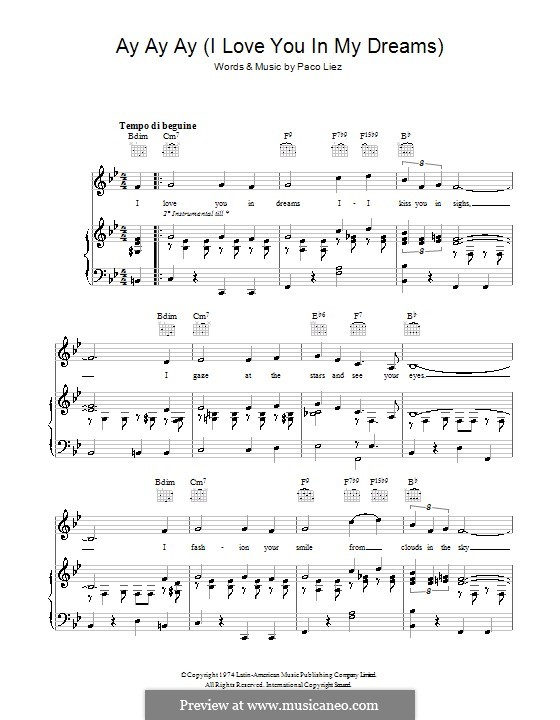 Ay Ay Ay (I Love You in My Dreams): Para vocais e piano (ou Guitarra) by Paco Liez