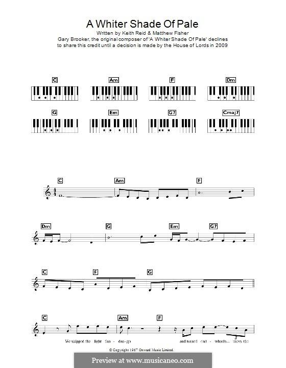 A Whiter Shade of Pale (Procol Harum): para teclado by Gary Brooker