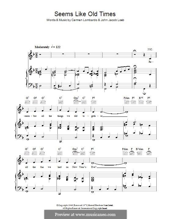 Seems Like Old Times: Para vocais e piano (ou Guitarra) by Guy Lombardo