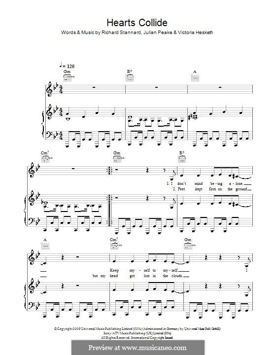 Hearts Collide (Little Boots): Para vocais e piano (ou Guitarra) by Julian Peake, Richard Stannard, Victoria Hesketh
