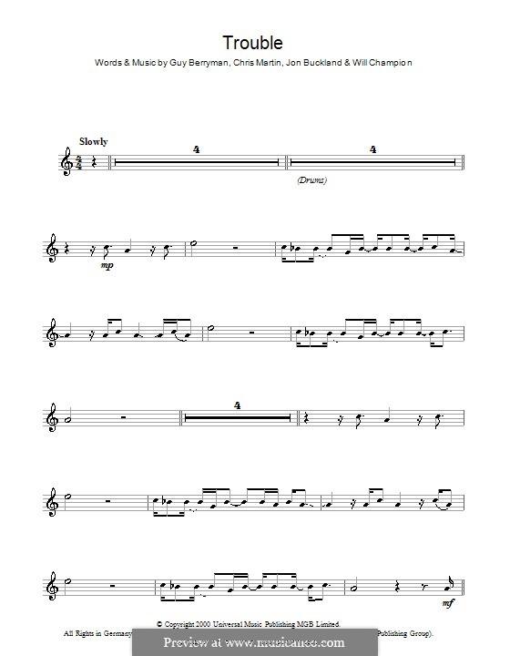 Trouble (Coldplay): para Saxofone Alto by Chris Martin, Guy Berryman, Jonny Buckland, Will Champion