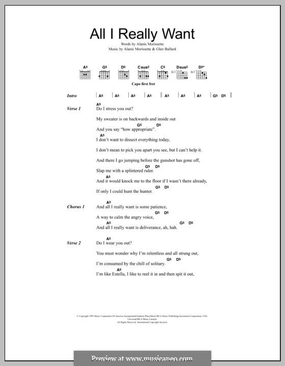 All I Really Want: Letras e Acordes by Alanis Morissette, Glen Ballard