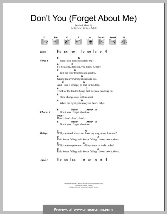 Don't You (Forget About Me): Lyrics and chords (Simple Minds) by Keith Forsey, Steve Schiff