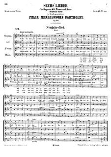 Six Songs, Op.88: set completo by Felix Mendelssohn-Bartholdy