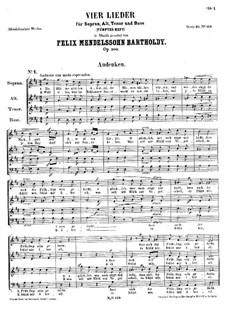 Four Songs, Op.100: set completo by Felix Mendelssohn-Bartholdy