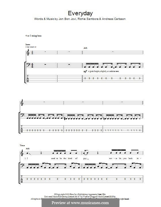 Everyday (Bon Jovi): para baixo com guia by Andreas Carlsson, Jon Bon Jovi, Richie Sambora