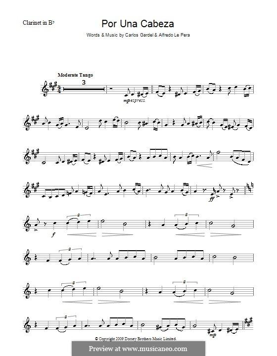 Por Una Cabeza: para clarinete by Carlos Gardel