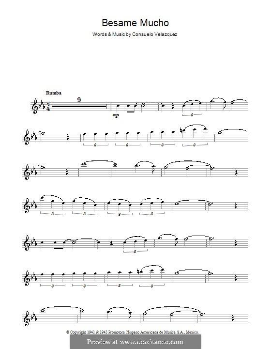 Besame Mucho (Kiss Me Much): para flauta by Consuelo Velazquez